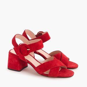 New JCREW Women's Suede Red Penny Sandals